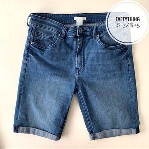 H&M Bermuda Jean Shorts with Folded Hem